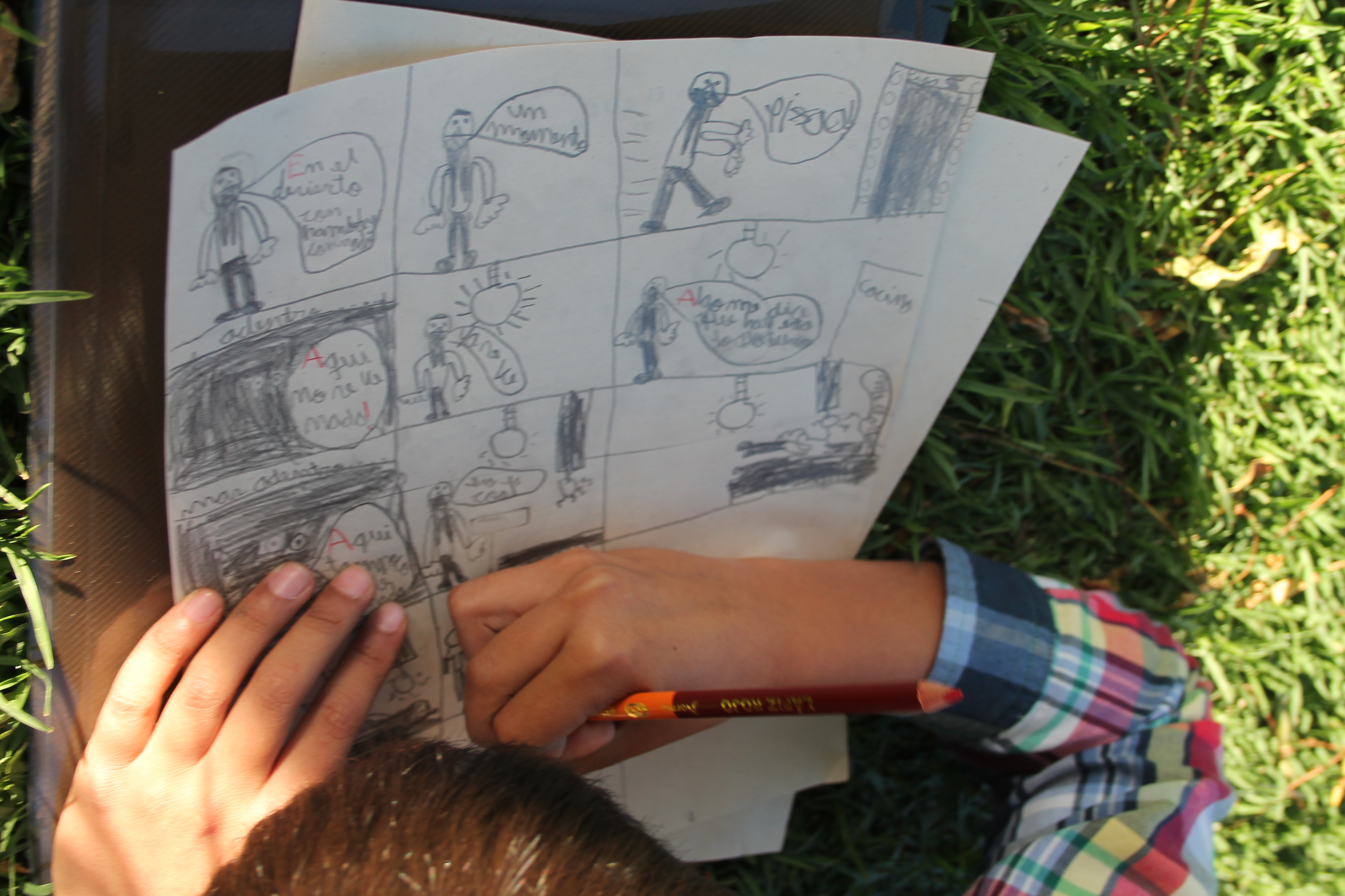 One of the participants drawing a story board