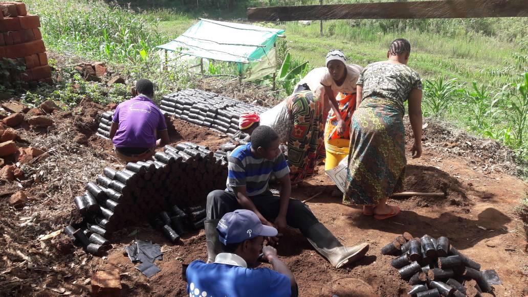 Pentecostal Chuch Conservation Group preparing the nursery at Yoghoi village