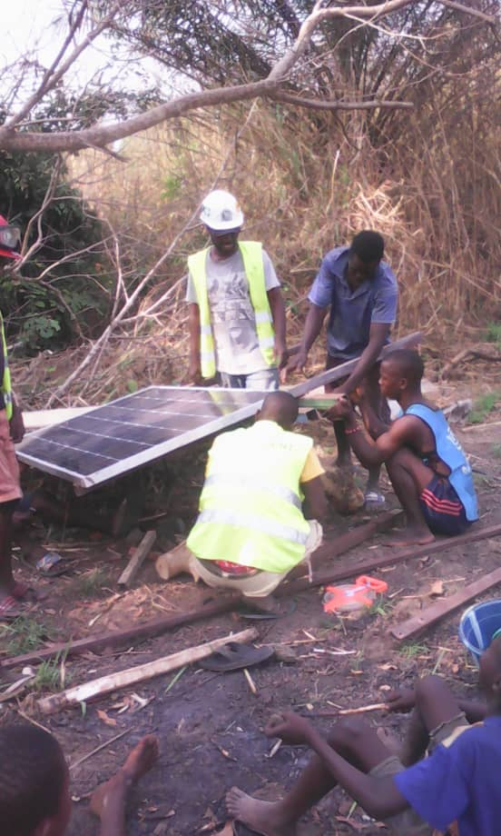 Installing the solar panels for irrigation of the demonstration field