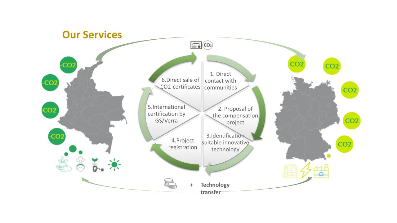 The services of CarbonoLocal include among others: contacting communities, helping them with CO2-certification and direct the sale of carbon credits in the international market.